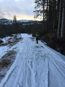 Ca 250m før Grønlia er det et parti med lite snø. Kan utover dagen bli nødvendig å ta av ski, evt holde venstre side av løypa.