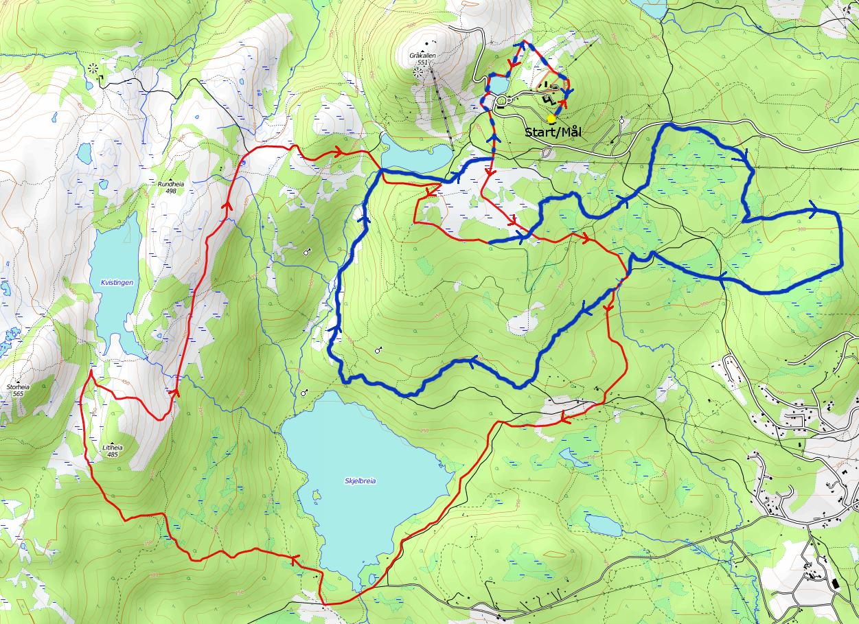 Den 25 km lange runden på årets femmil. Start på Studenterhytta før man følger den rød sløyfa før man kommer inn i den blå sløyfa og opp til runding/målgang på Hytta.